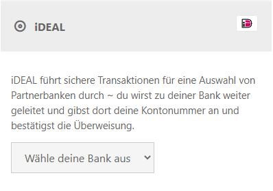 Schreinshot mit Auswahl Zahlungsart iDeal