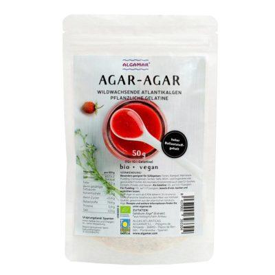 Produktfoto Algamar Agar-Agar Flocken 50g Packung Vorderseite