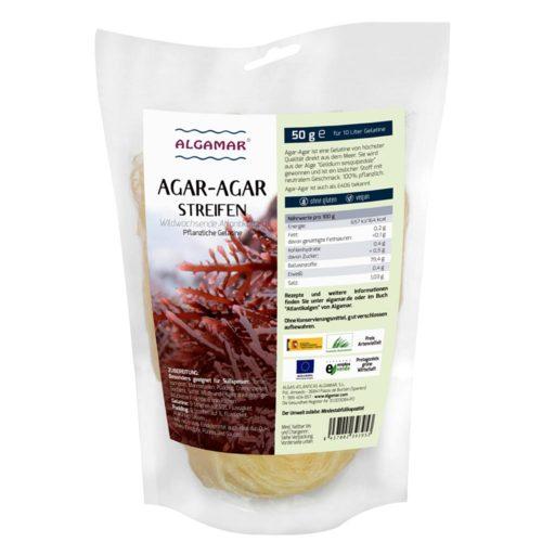 Produktfoto Algamar Agar-Agar Streifen 50g Packung Vorderseite