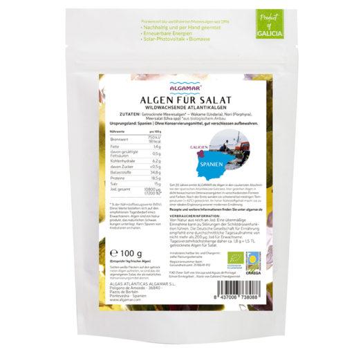 Produktfoto Algen für Salat 100g Rückseite