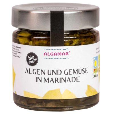 Produktfoto eines 190g Glases mit Algamar Algen und Gemüse in Marinade