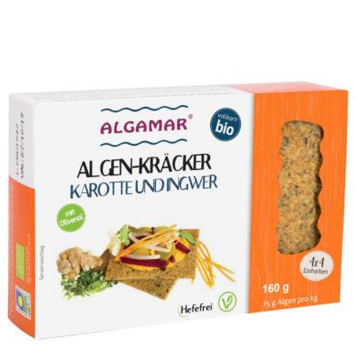 Produktfoto 160g Packung Algamar Algen Kräcker mit Karotte und Ingwer