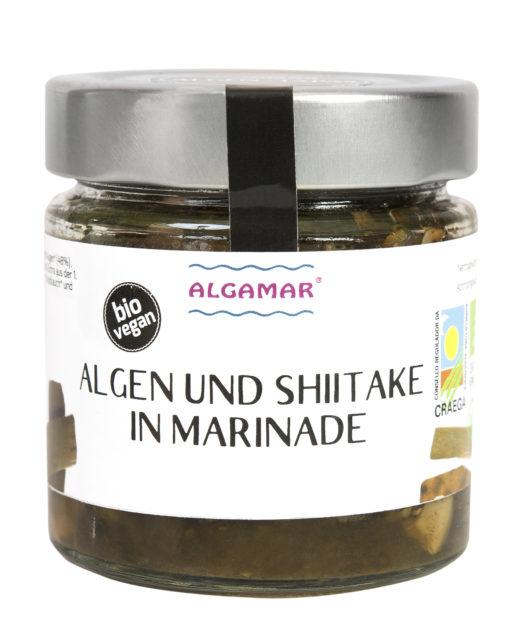 Produktfoto eines 160g Glases mit Algamar Algen und Shiitake in Marinade