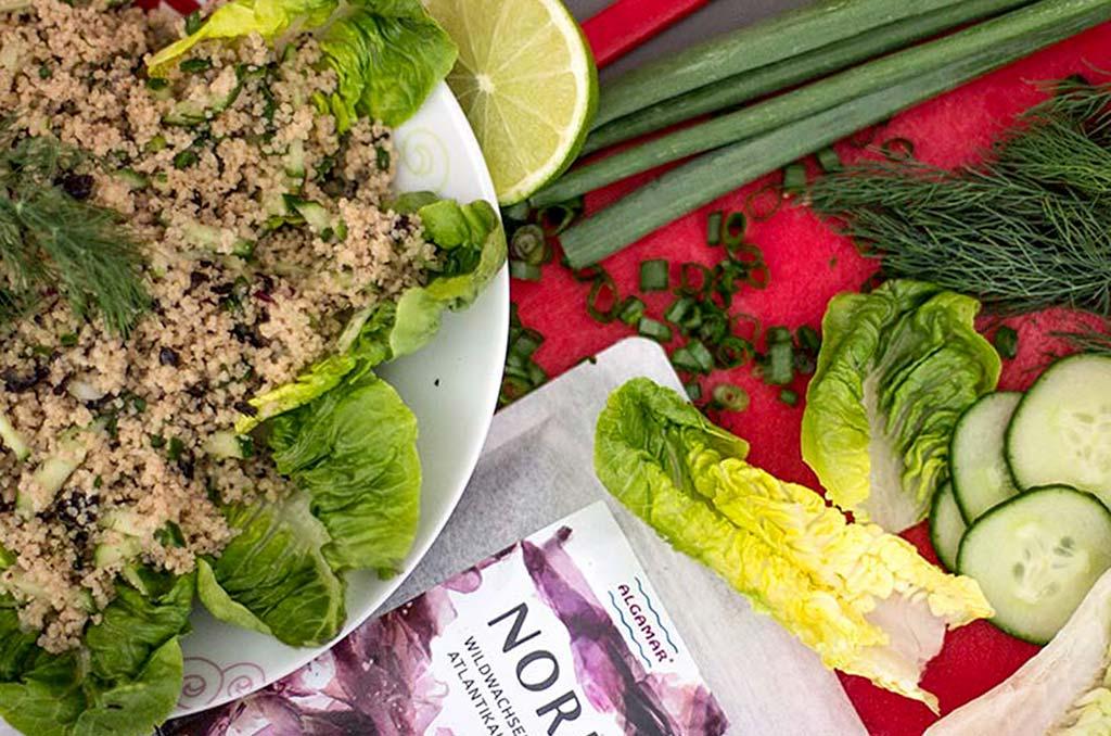 Foto eines Couscous Salates mit Noriflocken
