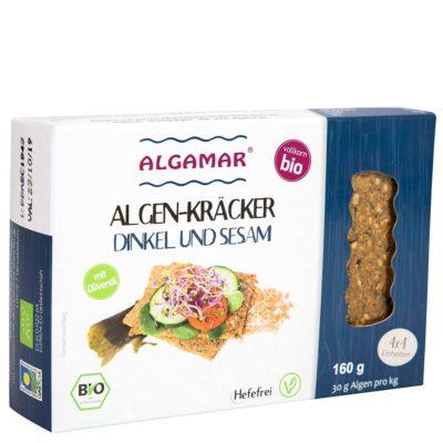Productfoto Algamar speltcrackers met sesam en zeewier 160g voorkant