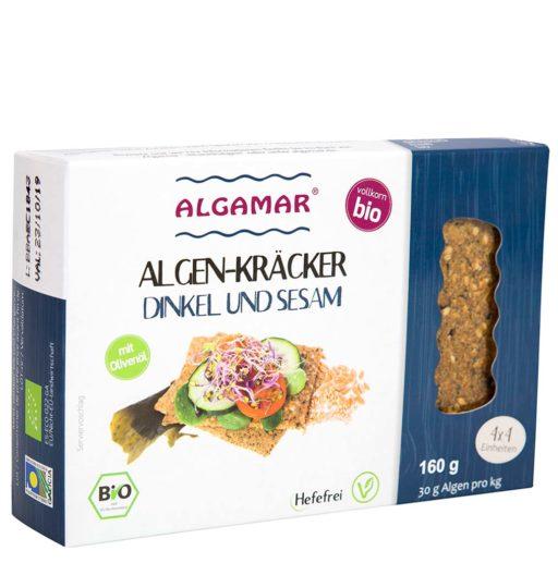 Produktfoto Algamar Dinkelkräcker mit Sesam und Algen 160g Voderseite