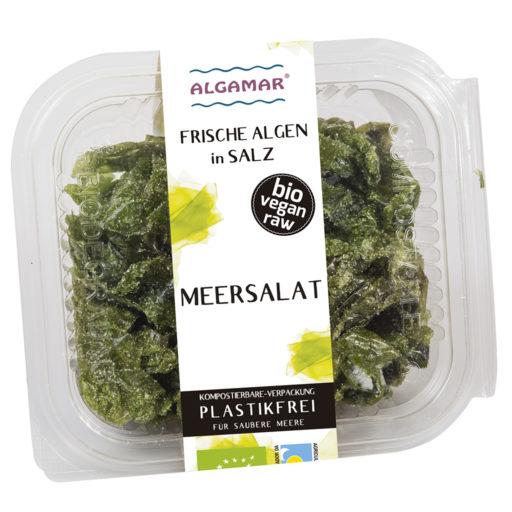 Foto der 100g Packung frische Meersalat-Algen in Salz von Algamar