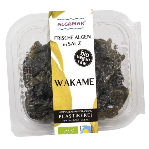 Foto der 100g Packung frische Wakame-Algen in Salz von Algamar