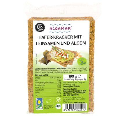 Produktfoto Algamar Haferkräcker mit Leinsamen und Algen 190g Packung Vorderseite