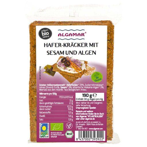 Produktfoto Algamar Haferkräcker mit Sesam und Algen 190g Packung Vorderseite