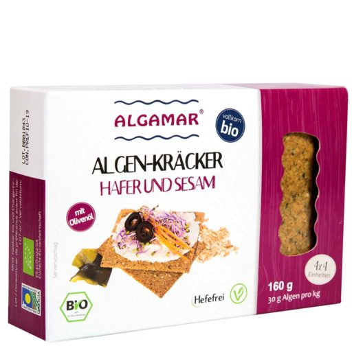 Produktfoto Algamar Haferkräcker mit Sesam und Algen 160g Packung Vorderseite