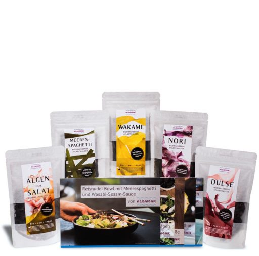 Produktfoto mit der Algamar Meeresalgen Starterbox, bestehend aus getrockneten Wakame, Dulse, Nori, Meeresspaghetti, Salatalgen