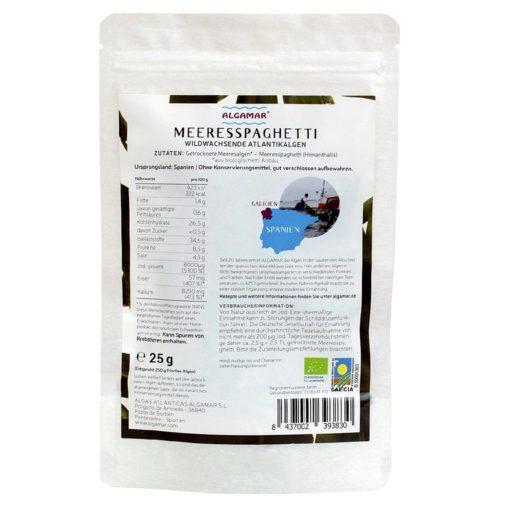 Produktfoto Algamar Meeresspaghetti Algen Pulver 25g Packung Rückseite