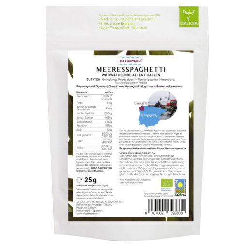 Produktfoto Algamar Meeresspaghetti Algen  25g Packung Rückseite