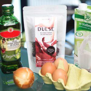 Foto der Zutaten für ein Omelett mit Dulse-Algen von Algamar