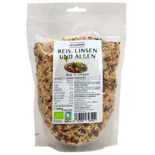 Produktfoto Algamar Reis mit Linsen und Algen 500g Packung Vorderseite
