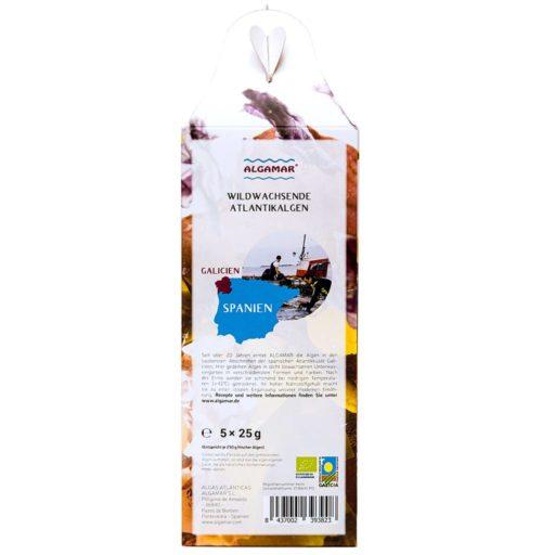 Produktfoto Algamar Meeresalgen Starterbox seitlich mit Produktinformationen