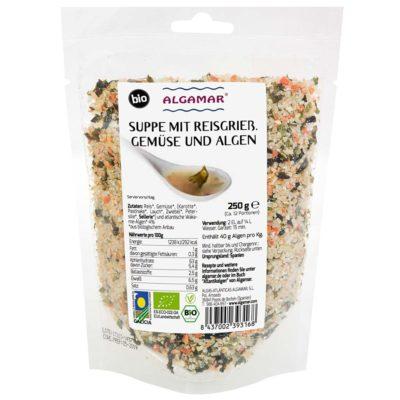 Produktfoto Algamar Suppe mit Reisgrieß, Gemüse und Algen 250g Packung Vorderseite