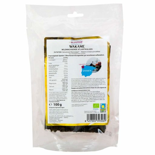 Produktfoto Algamar Wakame Algen 100g Packung Rückseite