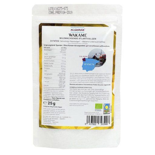 Produktfoto Verpackung Algamar Wakame Algen 25g Rückseite