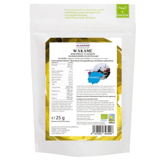 Produktfoto Wakame knusprige Flocken Algen-Topping 25g Rückseite