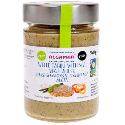 Produktfoto Algamar weiße Sesampaste mit Algen 320g Glas Voderseite